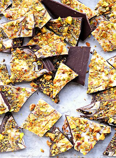 Pistachio Chocolate Bark  - Use vegan white chocolate or all dark chocolate