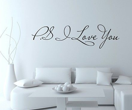 Hot Selling Promotion!!! Hot selling PS I Love You Vinyl wall quotes stickers sayings home art decal Size:16cmx60cm/piece