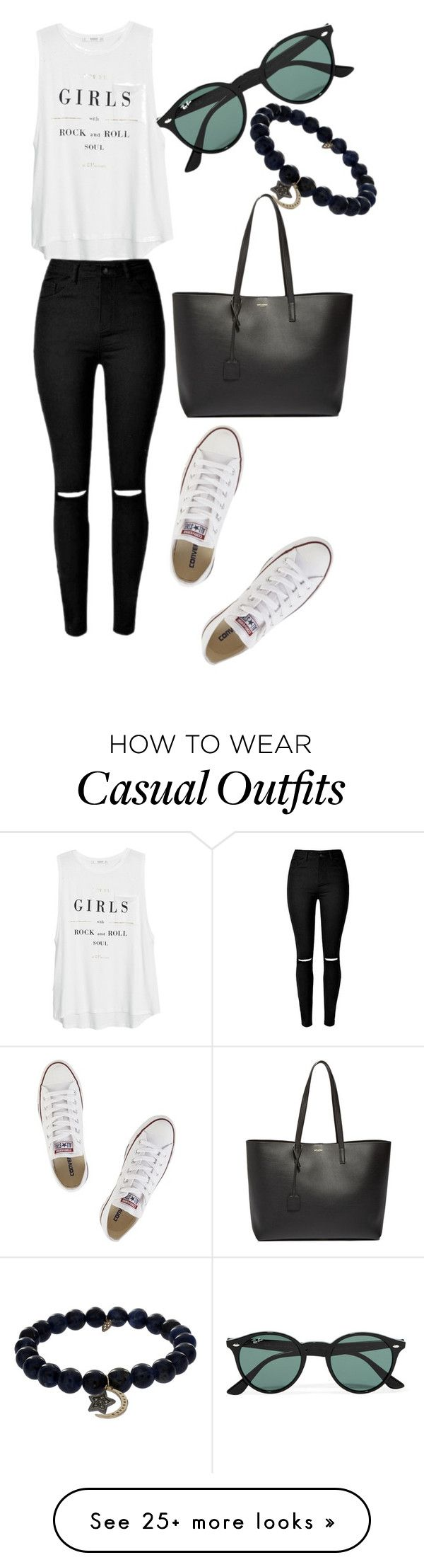 """""""Casual"""" by florcampodonico on Polyvore featuring Converse, MANGO, Yves Saint Laurent, Ray-Ban, Sydney Evan, women's clothing, women, female, woman and misses"""