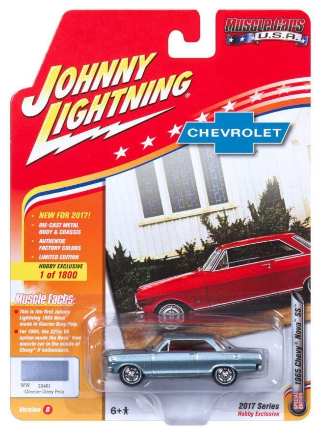 1:64 Johnny Lightning Muscle Cars USA 2017 1965 Chevrolet Nova SS Gray JLMC010B #JohnnyLightning #Chevrolet