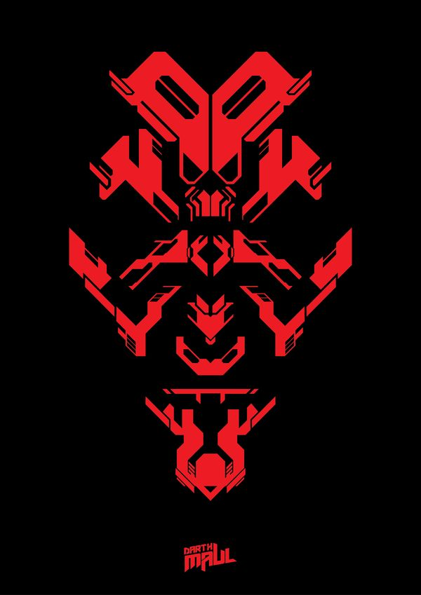 Cool, shape-centric take on Darth Maul. It kinda reminds me of Transformers badges too.