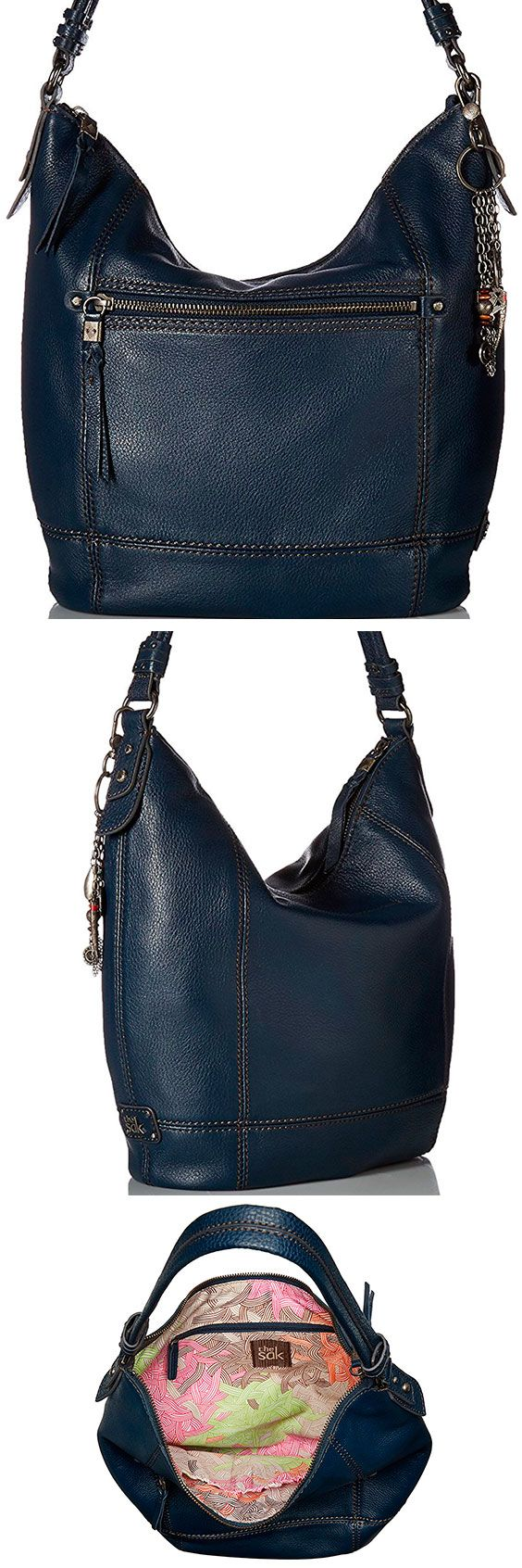 The Sak Sequoia Hobo Bag – Best Large Leather Hobo Shoulder Bag The Sequoia lives up to its namesake and comes in at a relatively large, inexpensive shoulder bag. With 11 styles to choose from, the right person will love the oversized design. #TheSAK #Leather #Baguette #Handbag #Hobo #ShoulderBag #Bag #Blue #Navy