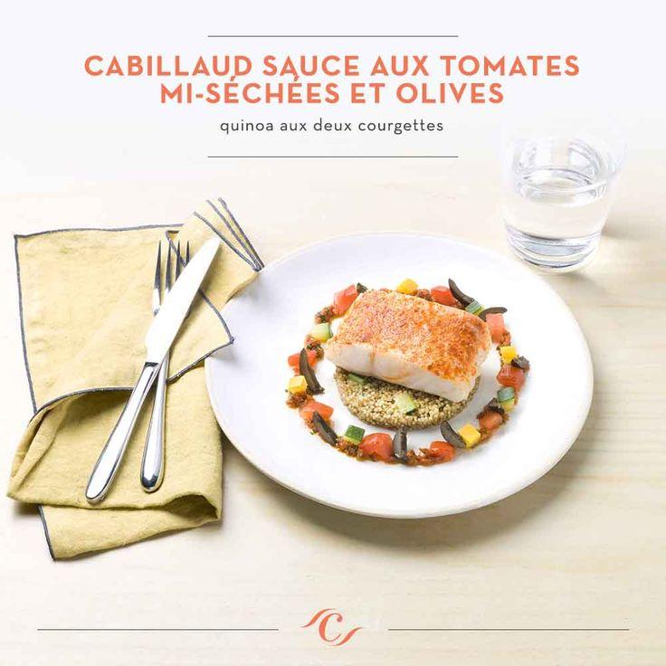 [Carte Enchantement Quotidien ]  Cabillaud sauce aux tomates mi-séchées et olives, quinoa aux deux courgettes #ChefCuisine #MonChefCuisine #gastronomiealamaison #gastronomie #AnneSophiePic #food #cordonbleu #french #chef #foodie