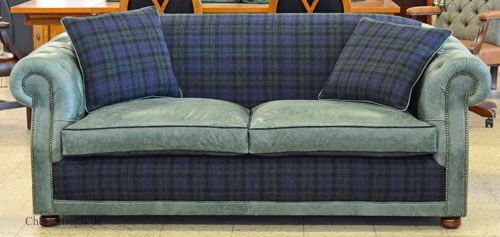 Warmer Harris Tweed für das warme Chesterfield Sofa: High Back Chesterfield Harris Tweed Tartan & leather