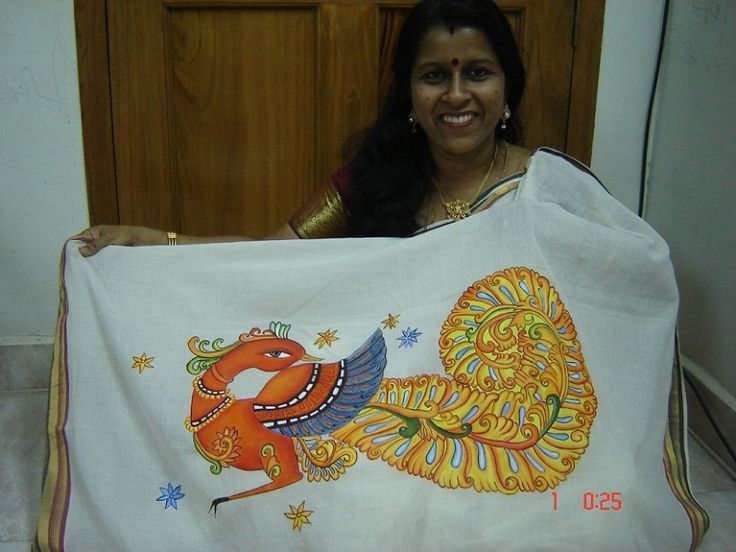 Mural design  of peacock on kerala saree