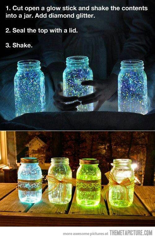 Glow jars with glow sticks