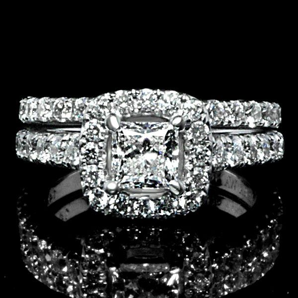 2 CTW Halo Princess Cut Engagement Ring and Band.   Find out more about our selection of wholesale engagement rings by visiting http://diamondexchangedallas.com