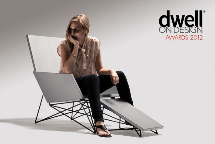 """The Modern Muskoka Chair, a concrete and steel adirondack chair made for commercial or residential outdoor use. Award winner for """"Best Furniture Design"""" at Dwell on Design 2012. Made by Hard Goods."""