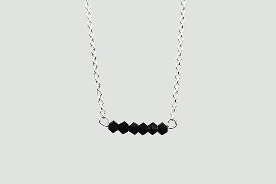 Swarovski Crystal Bar Necklace Black Silver