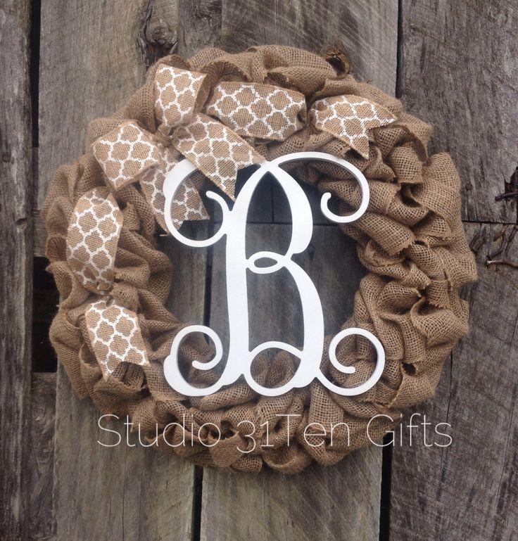 burlap monogram  wreath, burlap wreath, personalized christmas gift, vine font letter door hanger by Studio31TenGifts on Etsy https://www.etsy.com/listing/207449217/burlap-monogram-wreath-burlap-wreath
