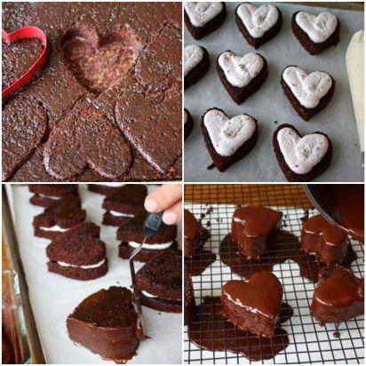 Brownie de coração recheado com creme de framboesa