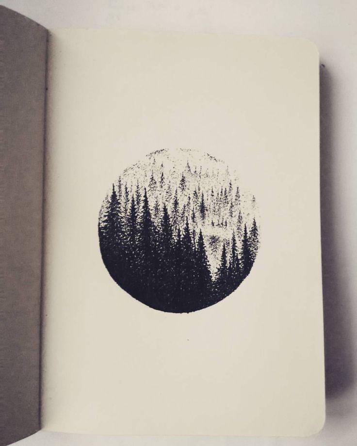 6cm forrest landscape #drawing #sketching #doodle #illustration #engraving #linework #dotwork #blackworkerssubmission #blackandwhite #black #ink #tattoodesign #tattoo #handpoke #tree #trees #woods #forrest #mist #czech #iblackwork #thedotworkers...