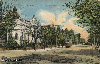 Villamos a Kossuth utcában, az 1900-as évek elején