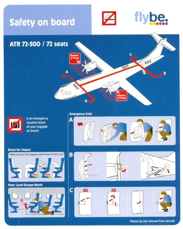 Flybe Airlines ATR 72-500/72 Seats SAFETY Card