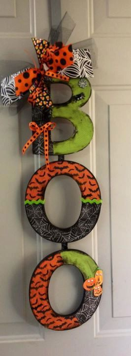 "Halloween ""BOO"" door sign/wall hanging - Only ONE remaining   . $40.00, via Etsy."