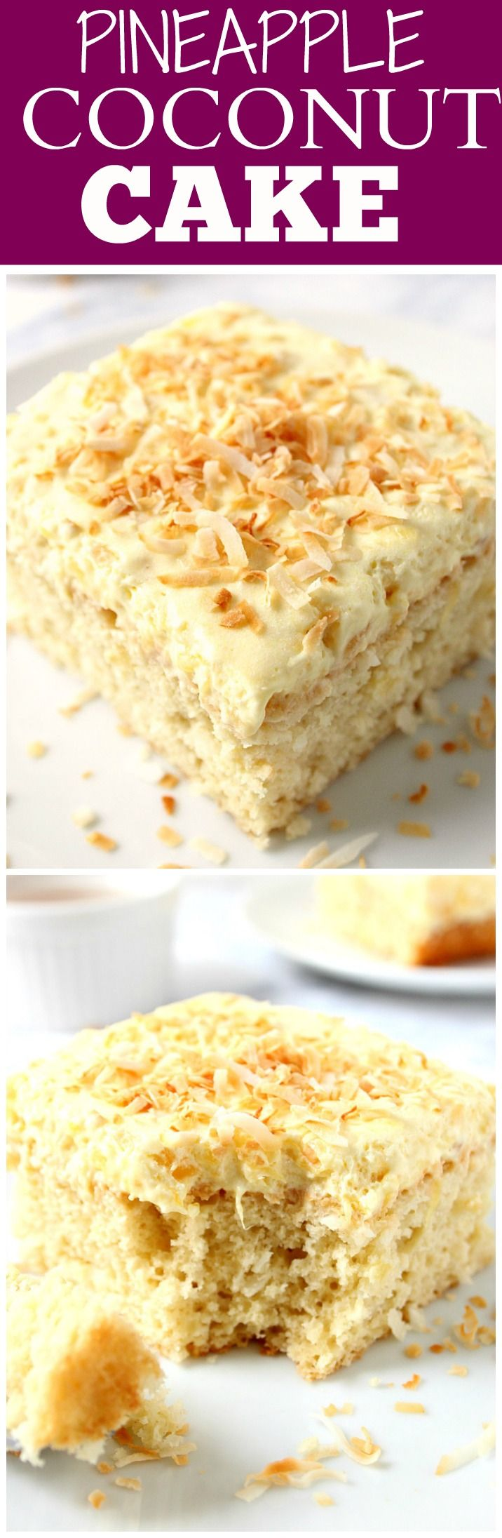 Coconut Pineapple Cake Recipe - sweet and delicious coconut cake with light and fluffy whipped pineapple frosting! Perfect Summer dessert!