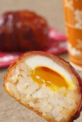 Japanese Food Nikumaki-Onigiri, Teriyaki Rice Ball wrapped with Thin Meat, from TDL|肉巻きおにぎり