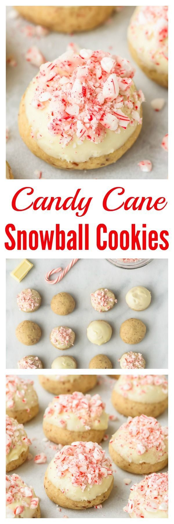 Santa is going to love you for leaving him these melt-in-your-mouth Candy Cane Snowball Cookies! Classic snowball cookies (also called Russian Tea Cakes or Mexican Wedding Cookies) dipped in white chocolate, then topped with crushed peppermint candies. Buttery, addictive, and filled with the best holiday flavors!