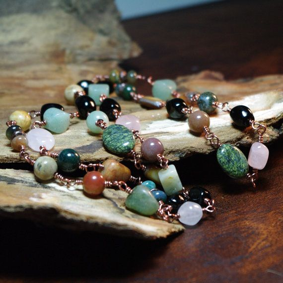 """Handmade wire wrapped links of a earthy mix of gemstones connect to create a long 29"""" continual chain necklace by Angelof2, $27.00 ~ ♦ Russian Serpentine  ♦ Quartz  ♦ Fancy and Picture Jasper  ♦ Green Aventurine  ♦ Obsidian  ♦ Shell"""