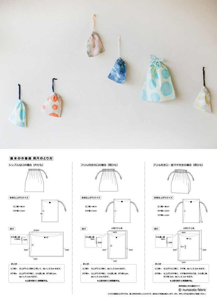 基本の巾着袋の型紙と作り方