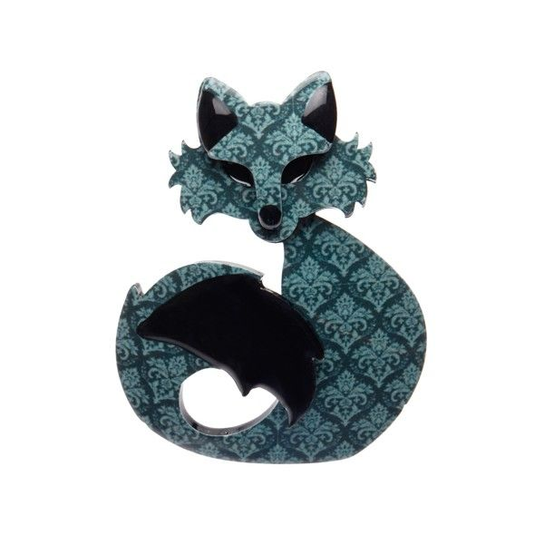 "Erstwilder Limited Edition She's so Foxy mint resin brooch. ""A simple swish and a flick of that lustrous tail and all the other foxes come a running without fail."""