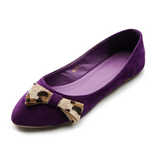 Ollio Womens Ballet Shoe Faux Suede Ribbon Accent Multi Color Flat 7 BM US Purple ** Want additional info? Click on the affiliate link Amazon.com on image.