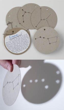 Constellations - When light shines through the holes, the constellations show up on the wall or ceiling.  Links to a place to purchase, but could be easily made, as they are just cardboard discs. - Make the right size to fit over our flashlights