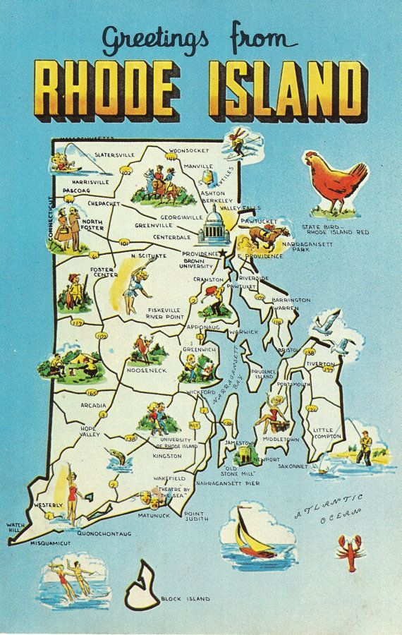 Rhode Island State Map Vintage Postcard Greetings The