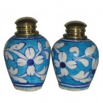 TURQUOISE WHITE SALT & PEPPER SHAKER