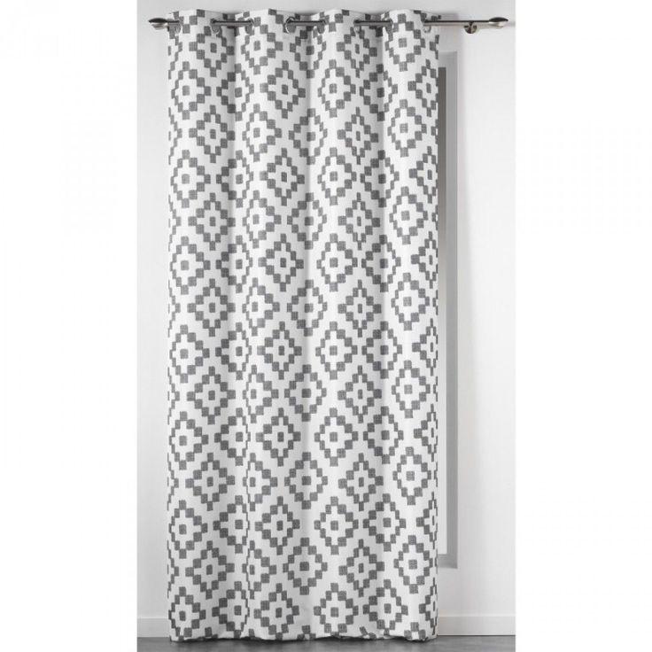Rideau motifs sasha blanc gris 140x260 douceur d for Rideau fenetre triangle