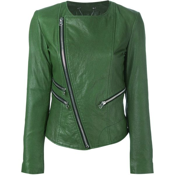 Twin-Set zip detail leather jacket (31.265 RUB) ❤ liked on Polyvore featuring outerwear, jackets, green, real leather jackets, green leather jacket, 100 leather jacket, genuine leather jackets and green jacket