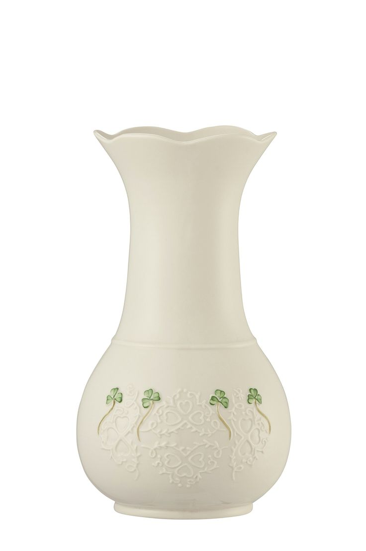 """Belleek 4350 Shamrock Lace Vase, 10-Inch, White. Designed and Made in Ireland. Hand Painted. 5.6""""W x 10""""H."""
