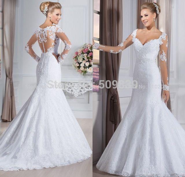 Vestido de noiva ver através sereia vestidos de casamento Vestido de mangas compridas 2015 Vestido de casamento Vestido de noiva