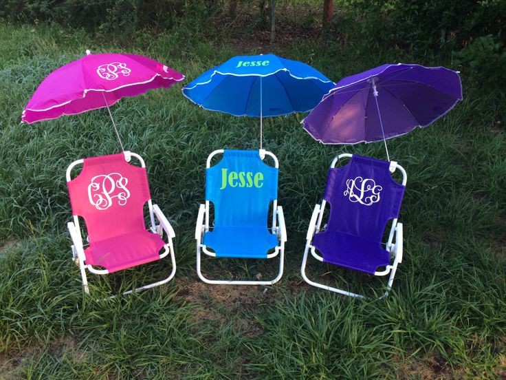 Monogrammed Kids beach chair with umbrella by southernsassbybrit on Etsy https://www.etsy.com/listing/179686066/monogrammed-kids-beach-chair-with