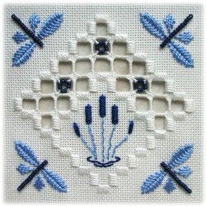 Tecido: 22ct Antique White Hardanger  Tópicos: DMC perle n º 5 / N º 8 / algodão encalhado (White, 796, 809)  Outros materiais: contas de Mill Hill (03061 Matte pervinca)