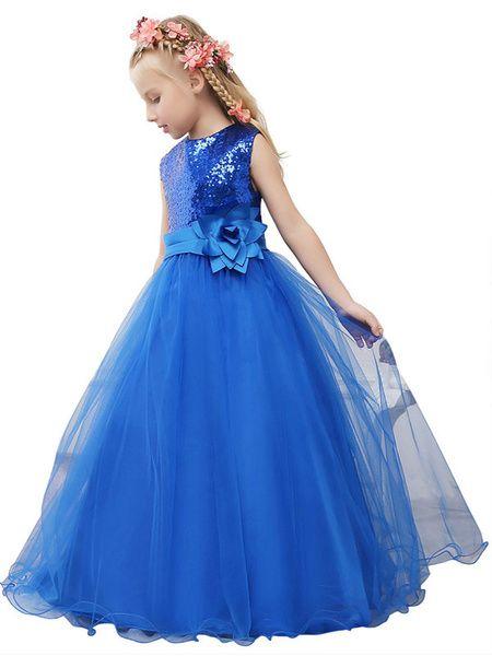 Royal Blue Toddler's Pageant Dress Sequined Princess Flower Girl Dress Tulle Flower Sash Maxi Junior Bridesmaid Dress