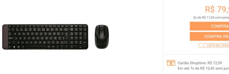 Combo Mouse e Teclado Wireless Logitech MK220 << R$ 7299 >>