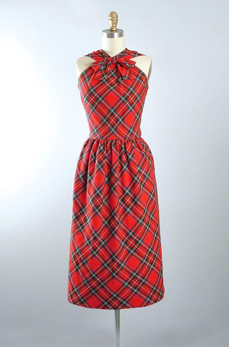 Vintage 60s LANZ Dress / 1960s RED Plaid Tartan Cotton Ribbon Criss Cross Halter…