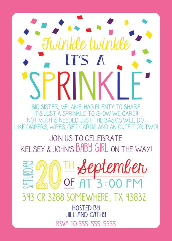 GIRL Version Any Color BABY SPRINKLE Invitation Couples Pink