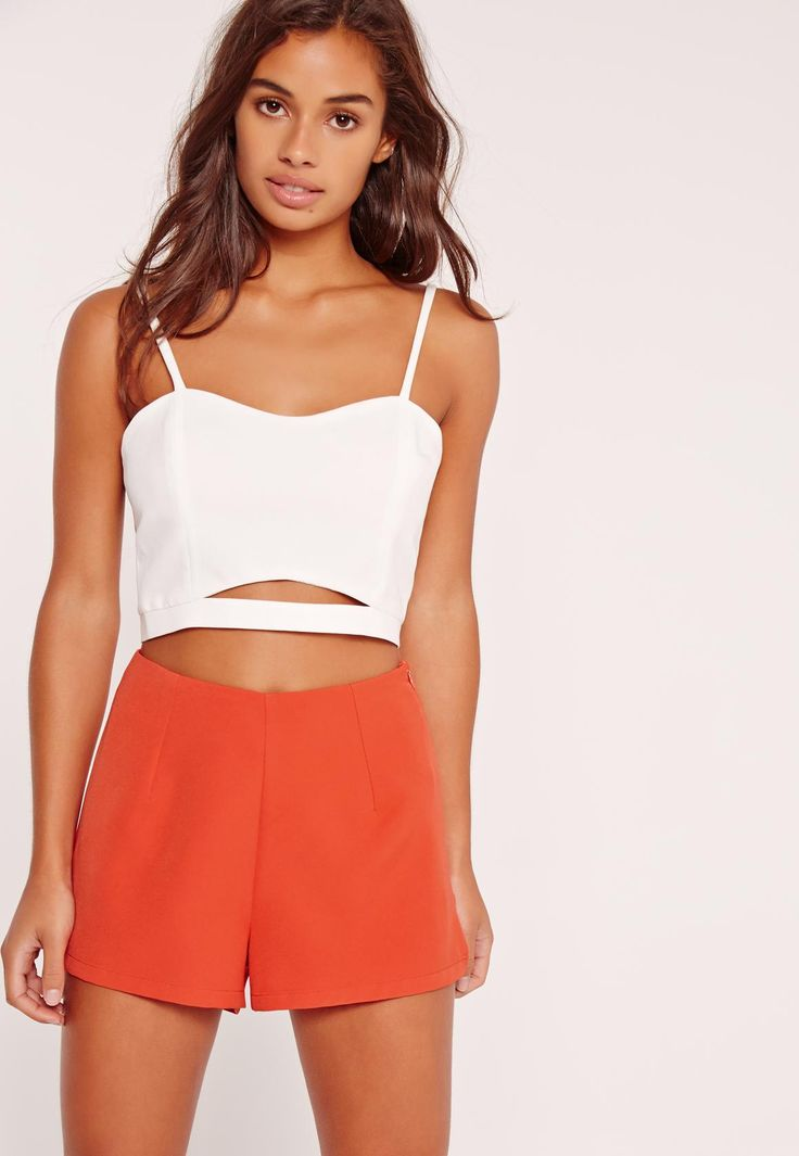 Petite High Waisted Tailored Shorts Co Ord Red - Missguided
