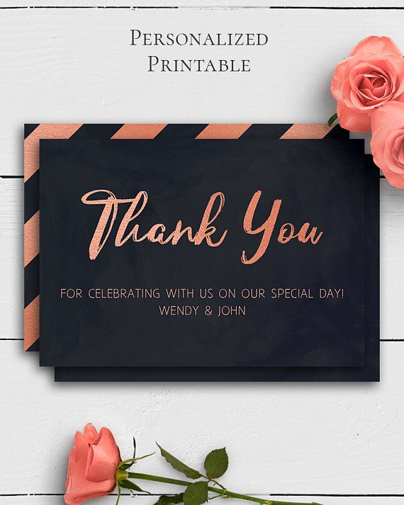 Rose Gold Navy Wedding Thank You Card with unique and elegant rose gold and navy blue design in modern wedding style by Amistyle Digital Art on Etsy