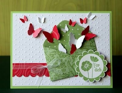 Darling Dotted Swiss Look Spring Card...with envelope filled with butterflies.