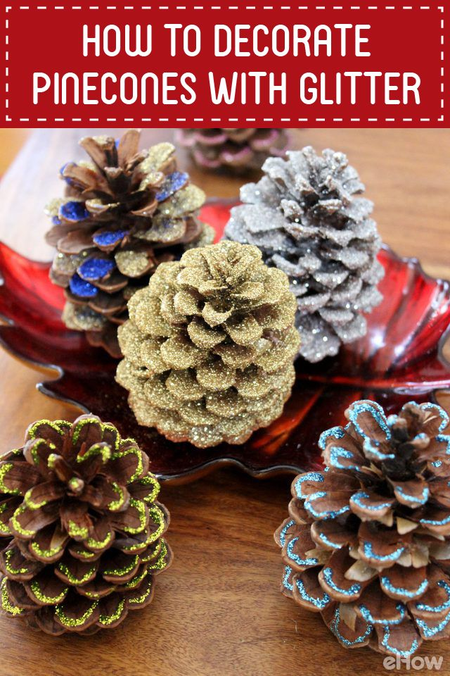 Love decorating with glitter! These pinecones are so easy to decorate and really add a lot to your home decor for the holidays. DIY here: http://www.ehow.com/how_7693721_decorate-pinecones-glitter.html?utm_source=pinterest.com&utm_medium=referral&utm_content=freestyle&utm_campaign=fanpage