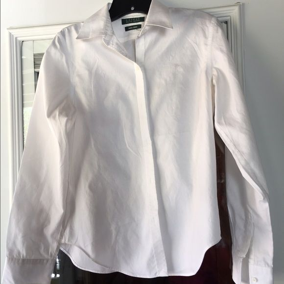 Ralph Lauren white Oxford shirts - size small Classic Ralph Lauren white Oxford shirts; two white. Great under suits, with a pencil skirt, jeans, under a sweater - you're only limited by your imagination. These may have been worn two or three times. I love them, but my weight doesn't. ((: They're not doing any good sitting in my closet, and really need a new home.  Will sell together or separately.m, and offer a bundle price if you purchase both. There's no such thing as 'too many' white…