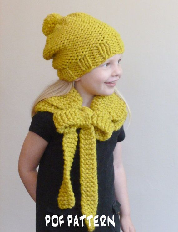 Knitting Pattern For Scarf And Beanie : KNITTING PATTERN Slouchy Garter Stitch Beanie and Bow Cowl Set (Adult/Teen/Ch...