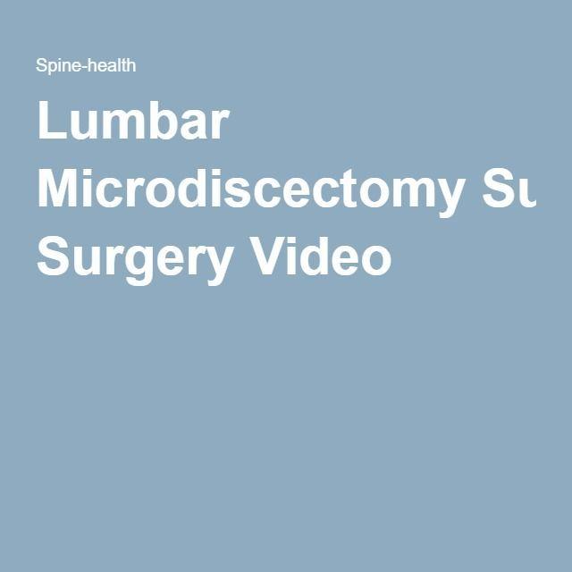 Lumbar Microdiscectomy Surgery Video