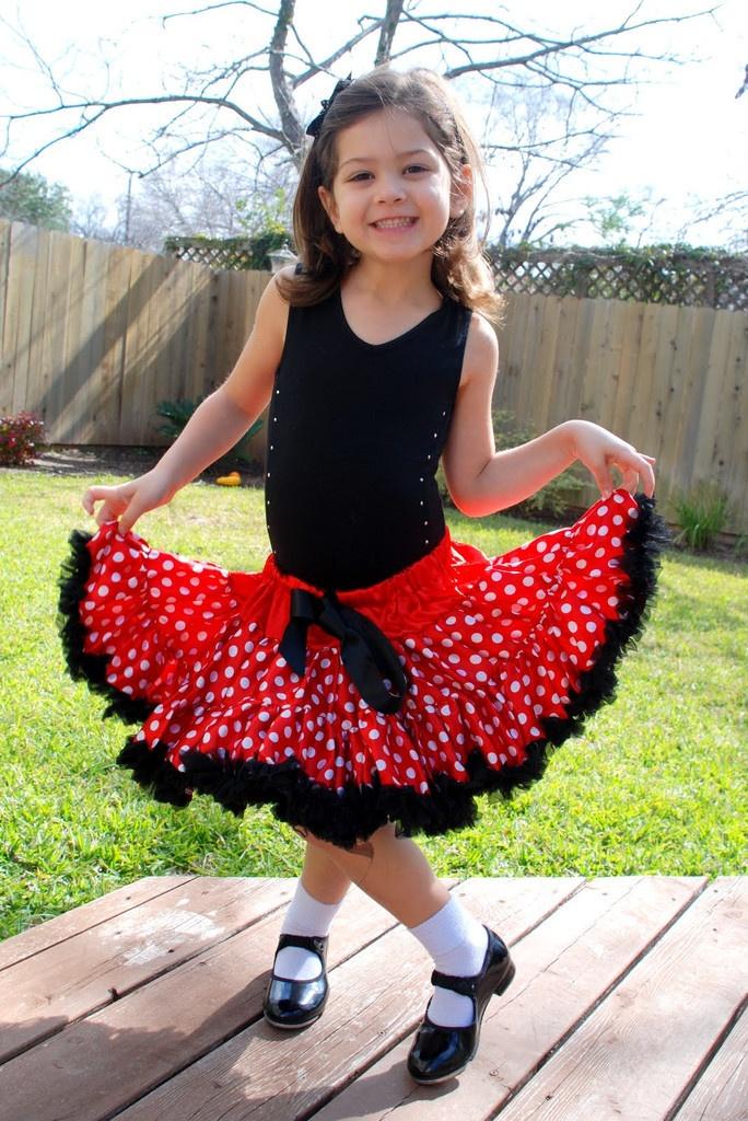Red white polka dot dress skirt girls