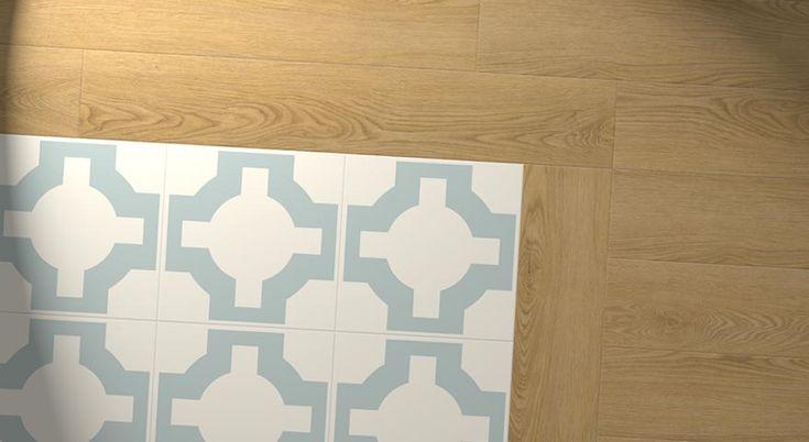 blue designer floor with oak effect border