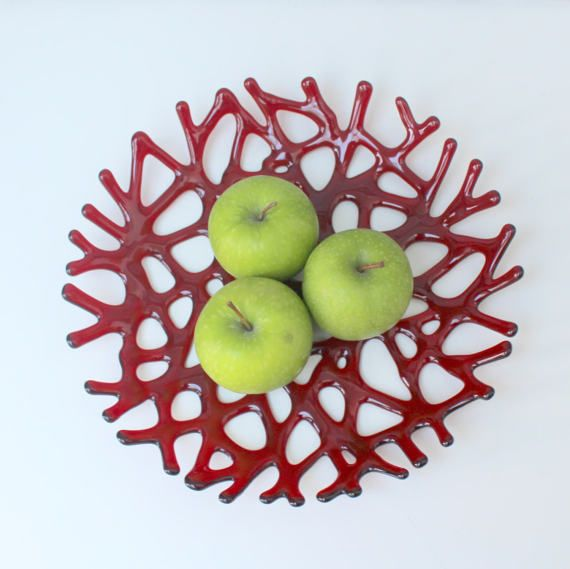 Red glass fruit bowl ruby red melted glass by UrbanGlassStudio