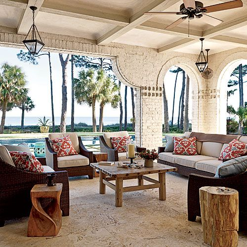 : Outdoor Rooms, Outdoor Living, Old World Style, Living Room, Back Porches, Coastal Living, Beaches Houses, Outdoor Spaces, Design Home